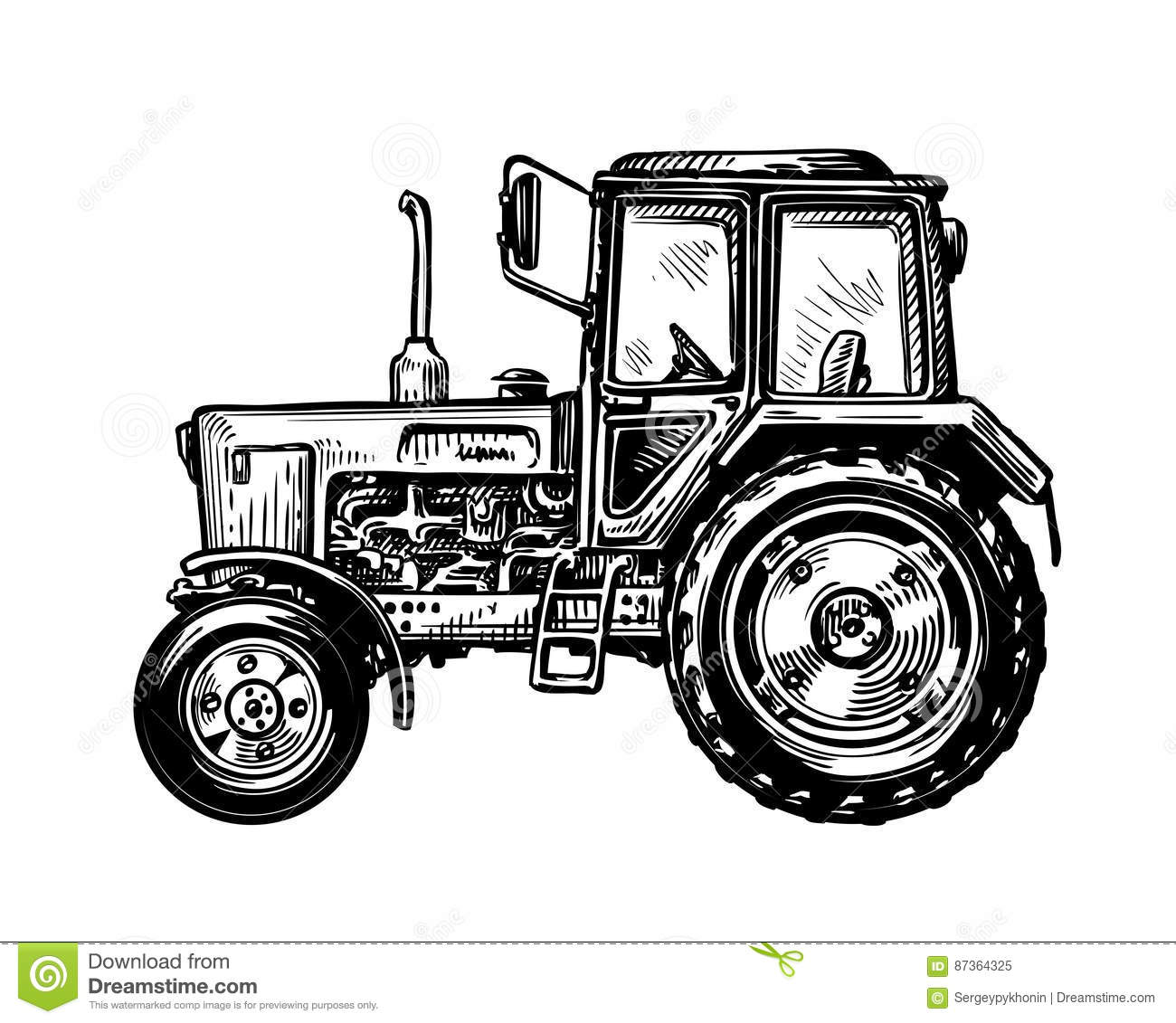 Hand Drawn Farm Truck Tractor Transport Sketch Vector