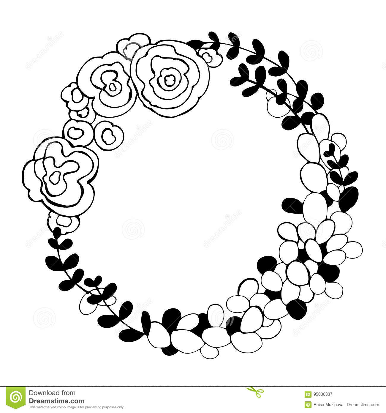Awesome Floral Vector Clipart Black And White