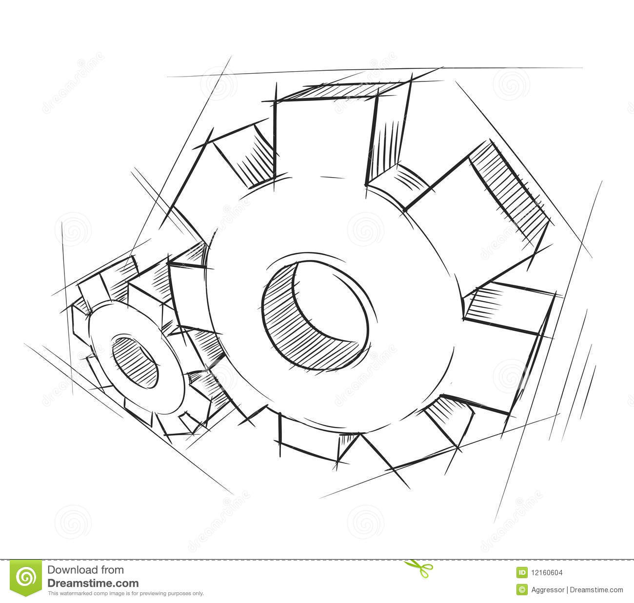 Hand Drawn Gears Stock Vector Illustration Of Isolated