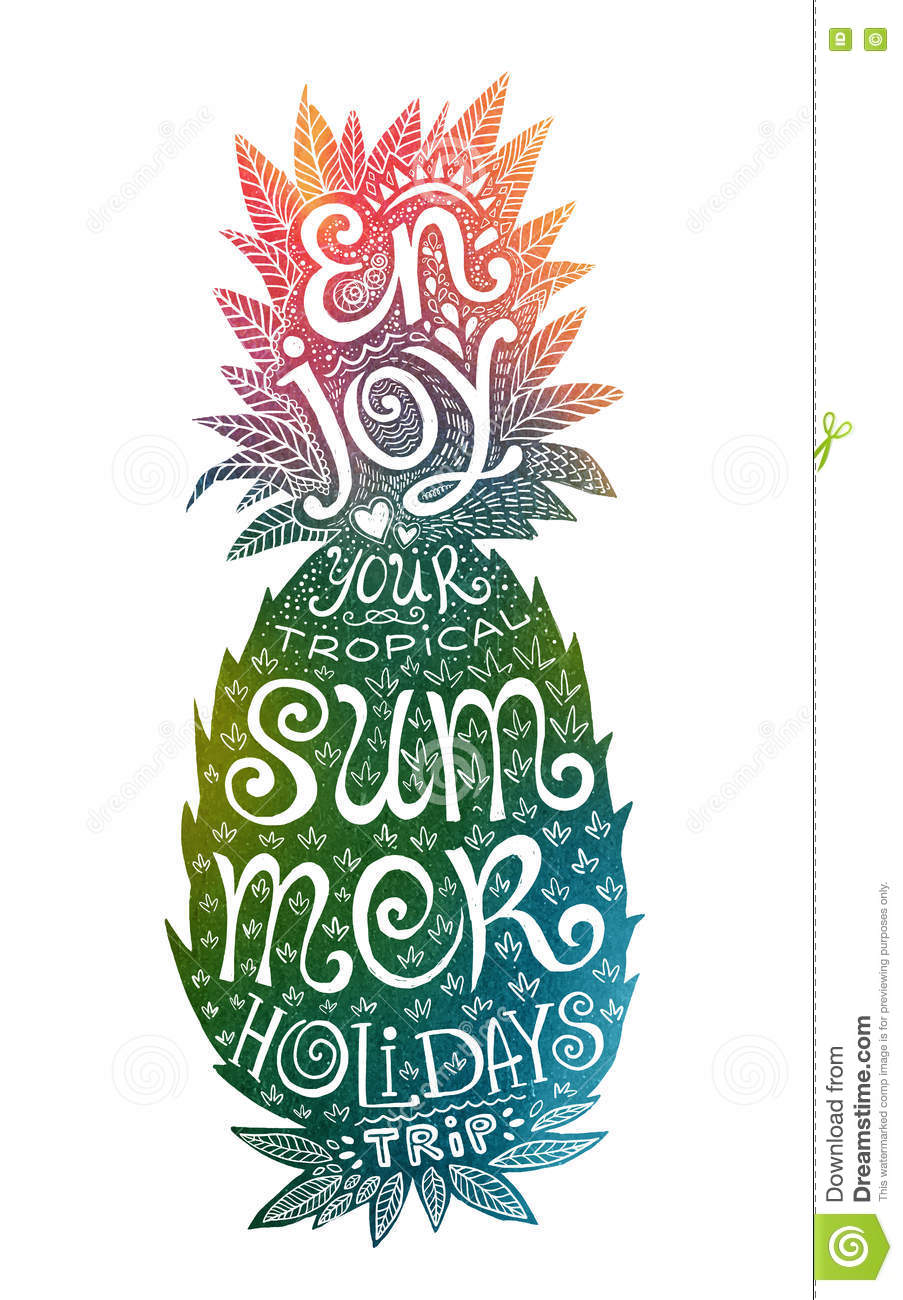 Hand Drawn Grunge Watercolor Pineapple Silhouette With