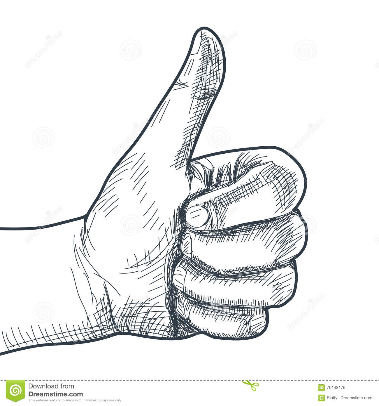 Hand Drawn Hand With Thumb Up Stock Vector