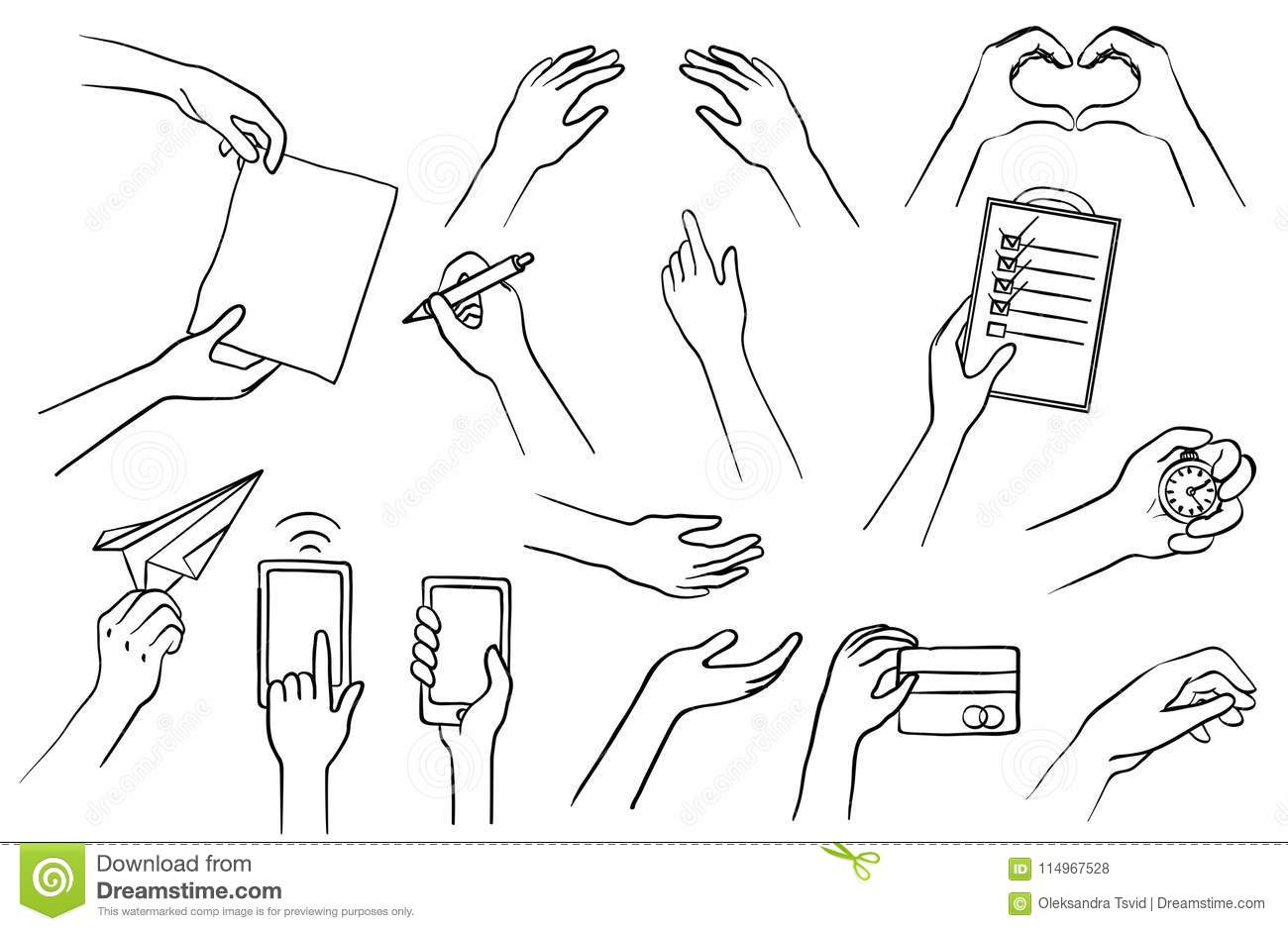 Hand Drawn Hands Set, Collection Of Sketch Symbols