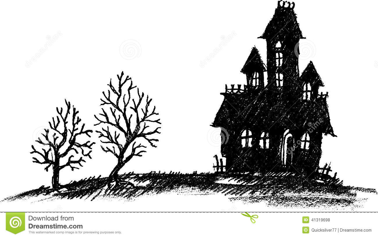 Hand Drawn Haunted House Stock Vector Illustration Of