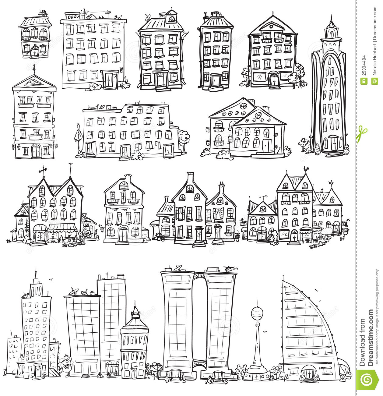 Hand Drawn Houses Stock Vector Image Of Drawn Apartment