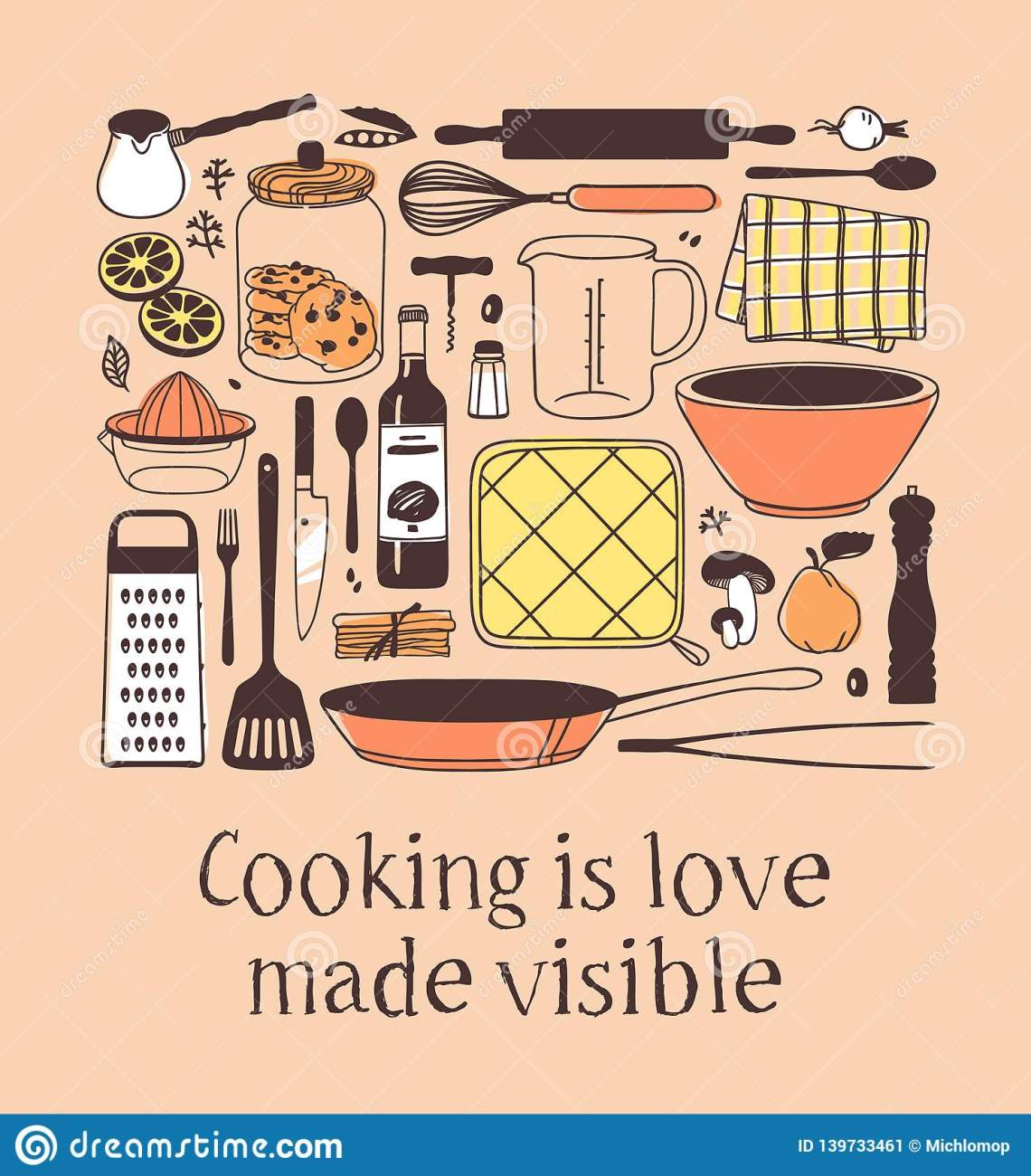 Download Hand Drawn Illustration Cooking Tools, Dishes, Food And ...