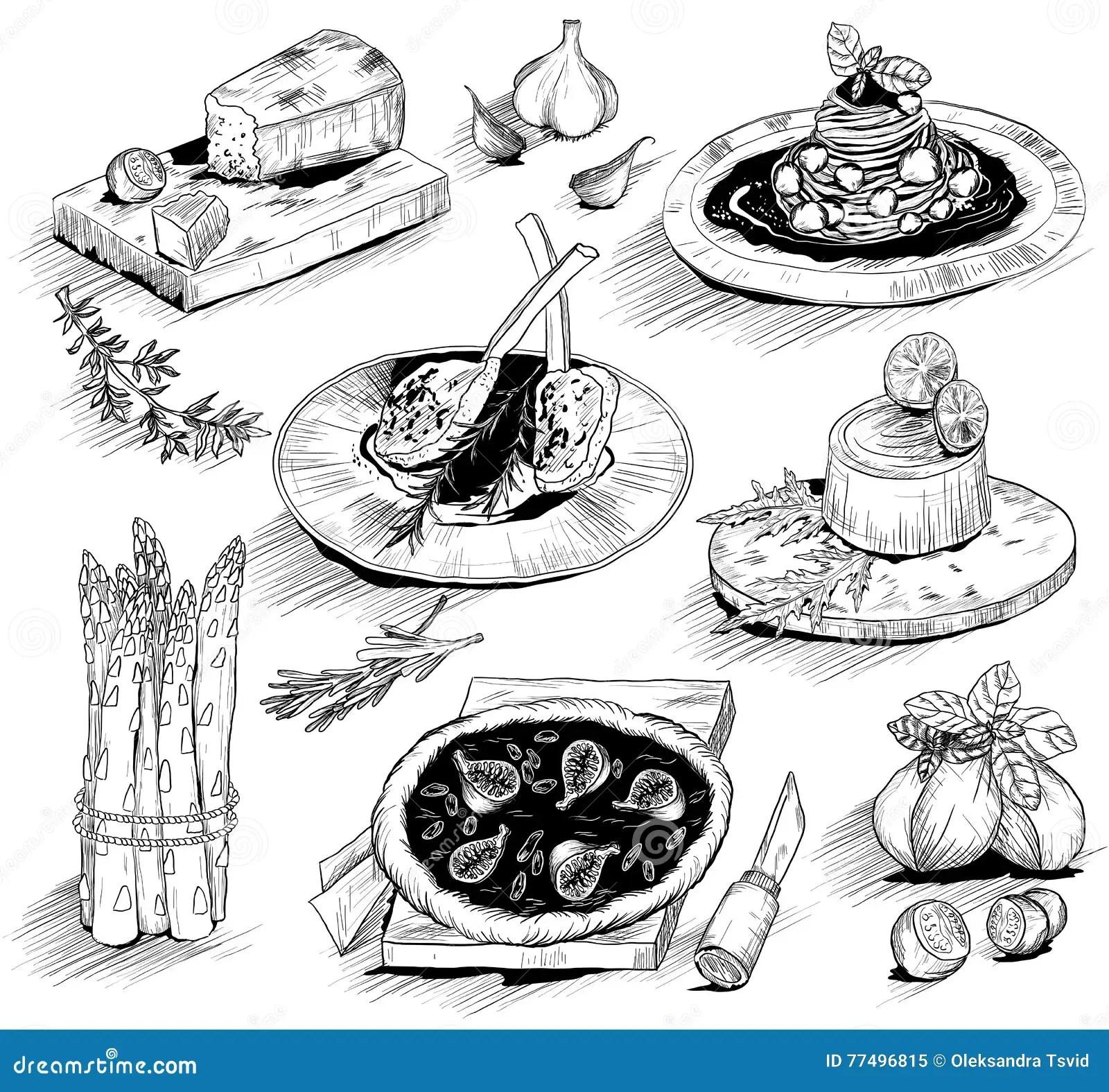 Hand Drawn Illustration With Italian Food Stock Vector