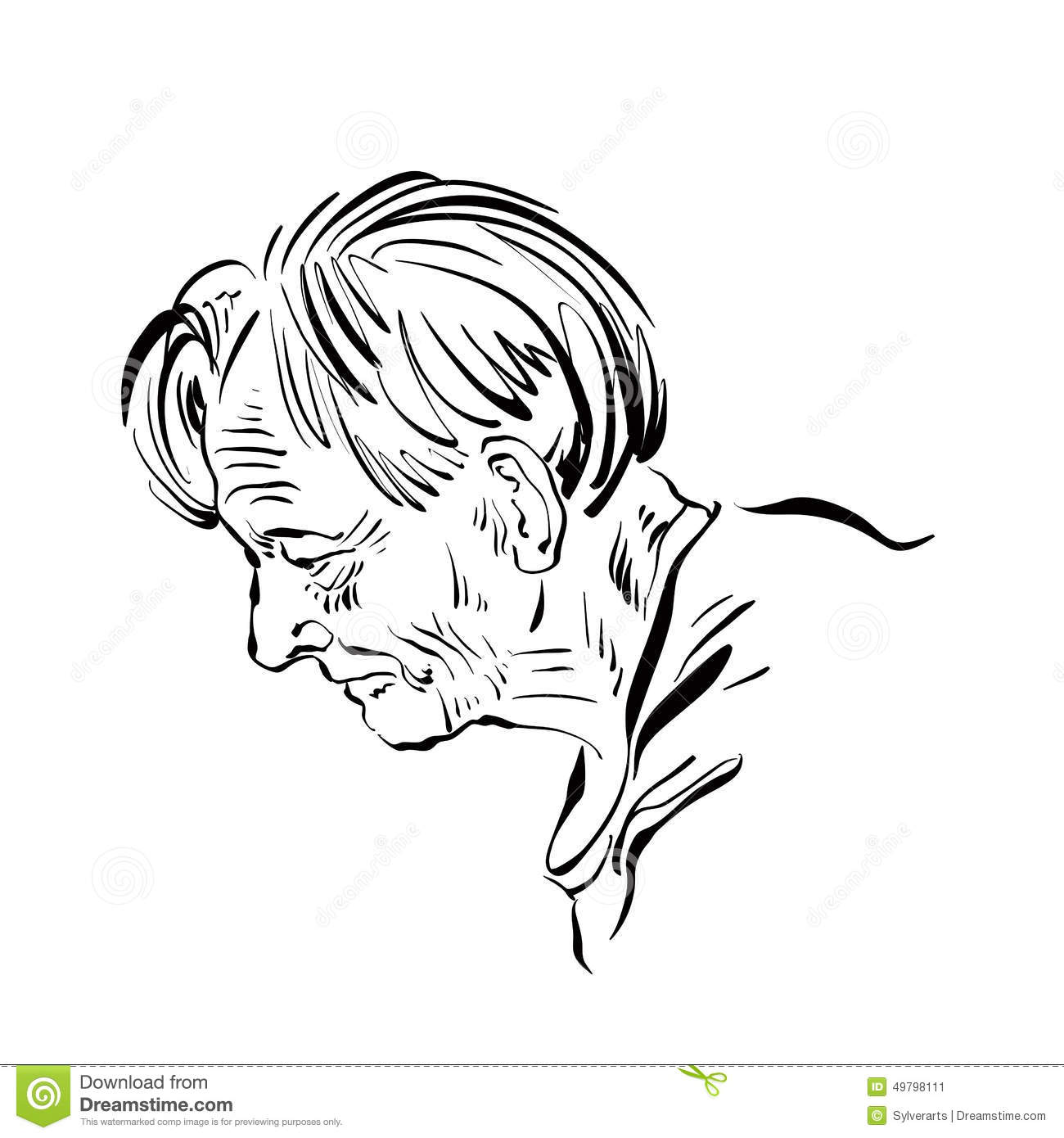 Hand Drawn Illustration Of An Old Man On White Background