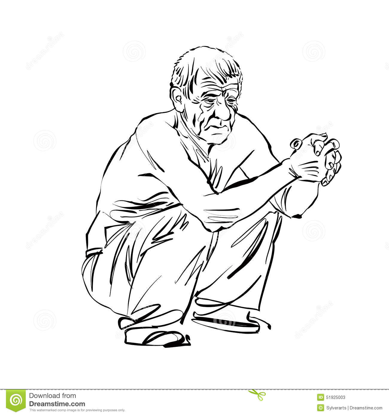 Hand Drawn Illustration Of An Old Squatting Man Black And