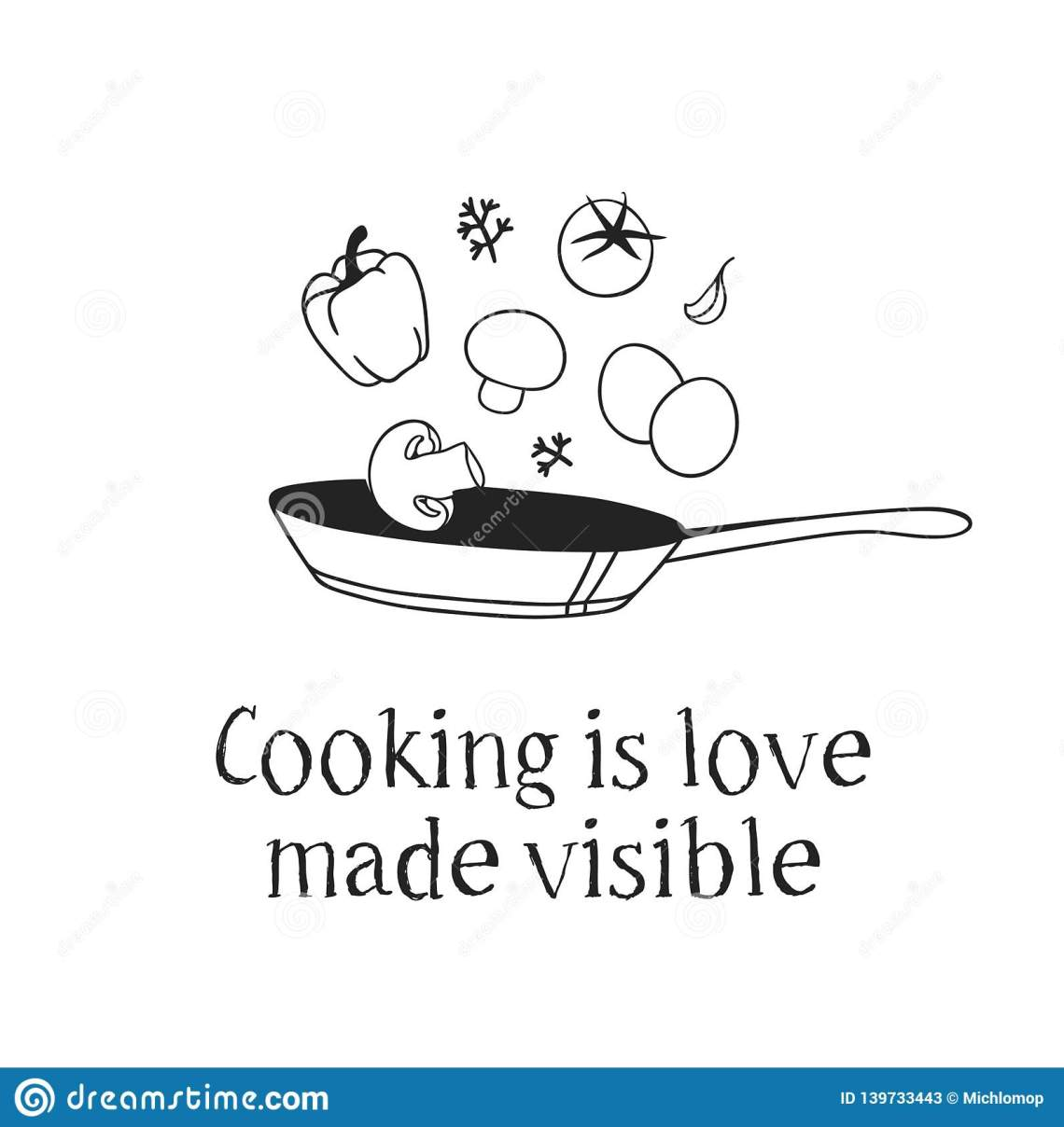 Download Hand Drawn Illustration Pan, Food And Quote. Creative Ink ...