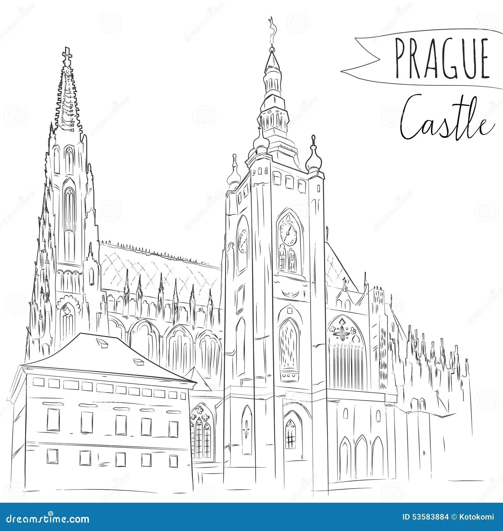 Hand Drawn Illustration Of Prague Castle, Czech Stock