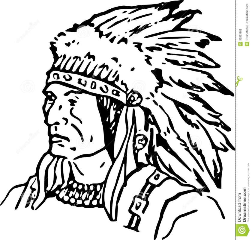 royalty free stock photos hand drawn indian chief /eps