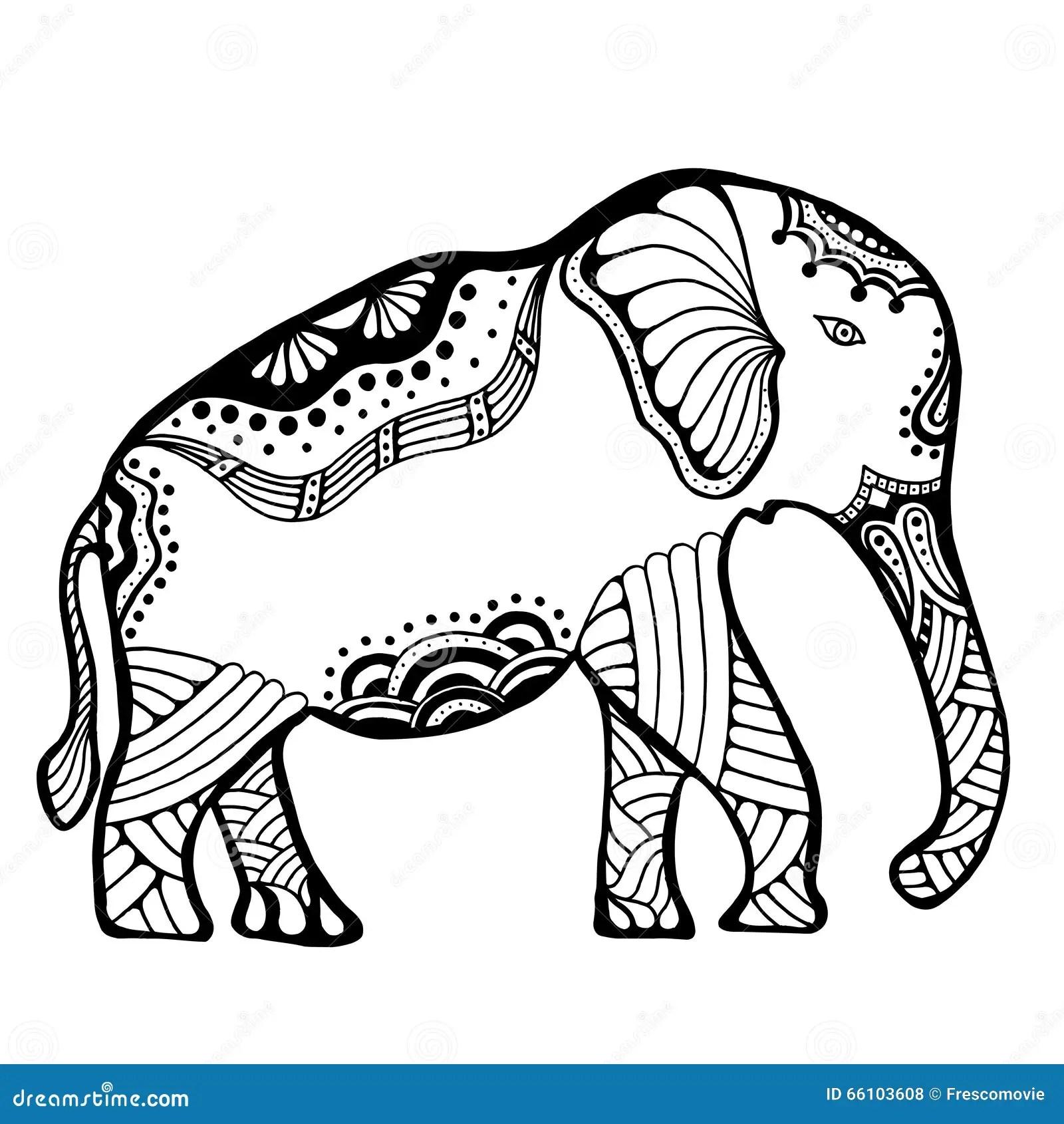 Hand Drawn Indian Elephant Stock Vector