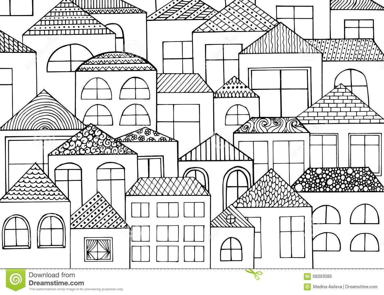 Hand Drawn With Ink Background With A Lot Of Houses, Homes