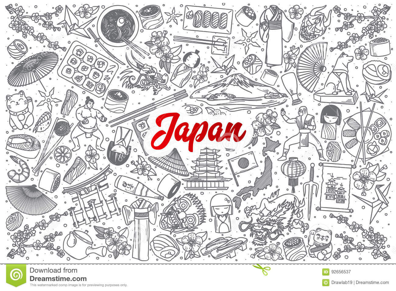 Hand Drawn Japan Doodle Set With Lettering Stock Vector