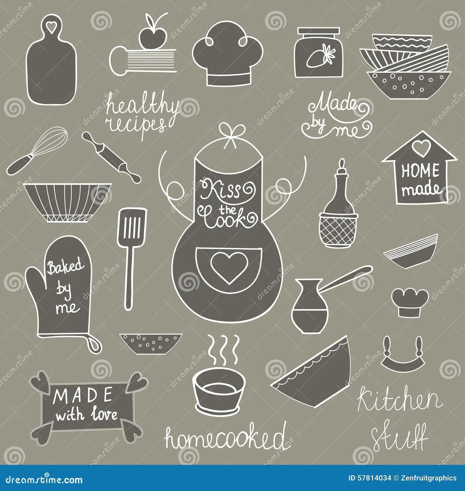 Hand Drawn Kitchen Tools Set Kitchen Utensils Kitchen Equipment Collection Kitchen Doodles