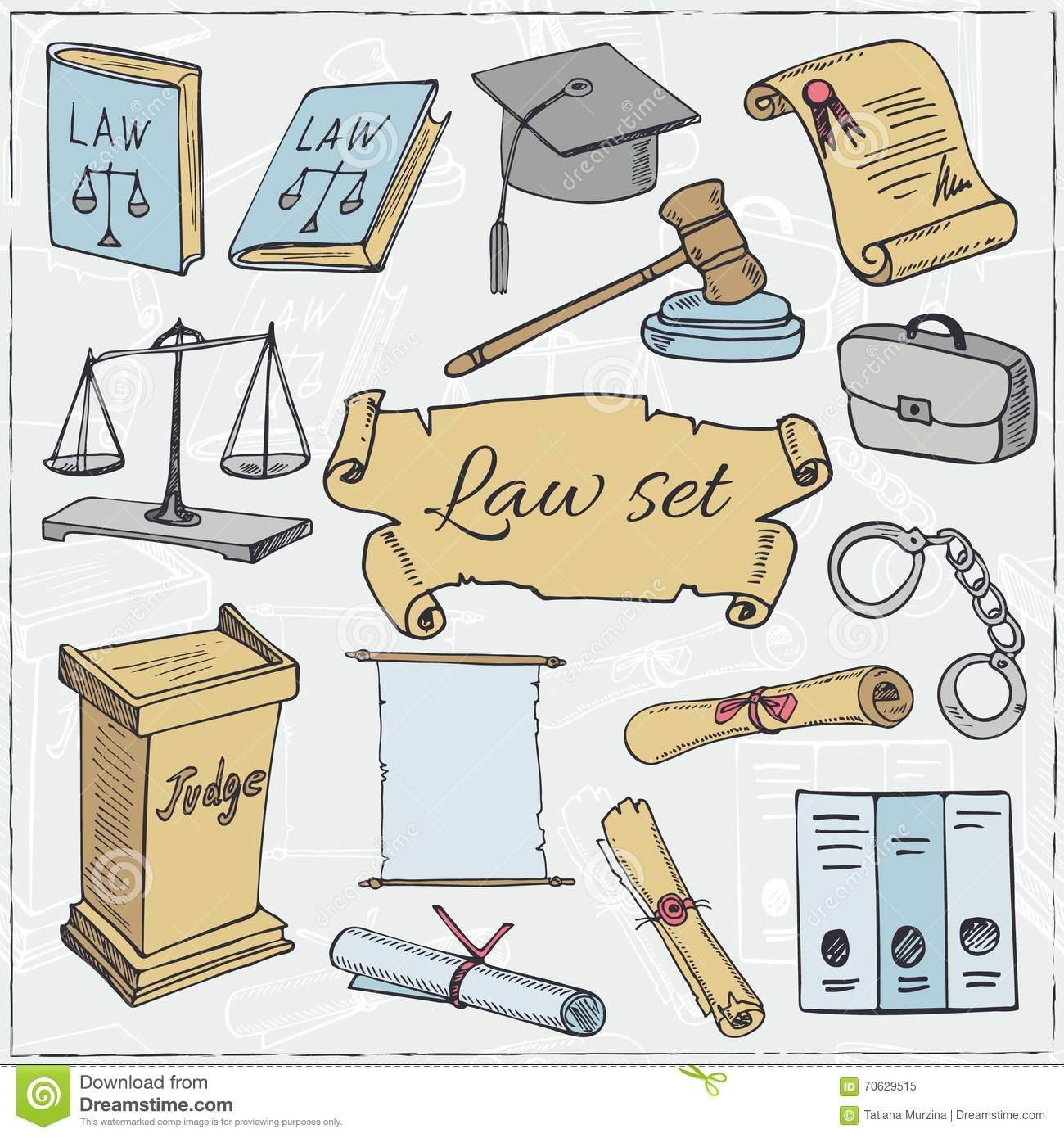 Hand Drawn Law Symbols Set Cartoon Vector