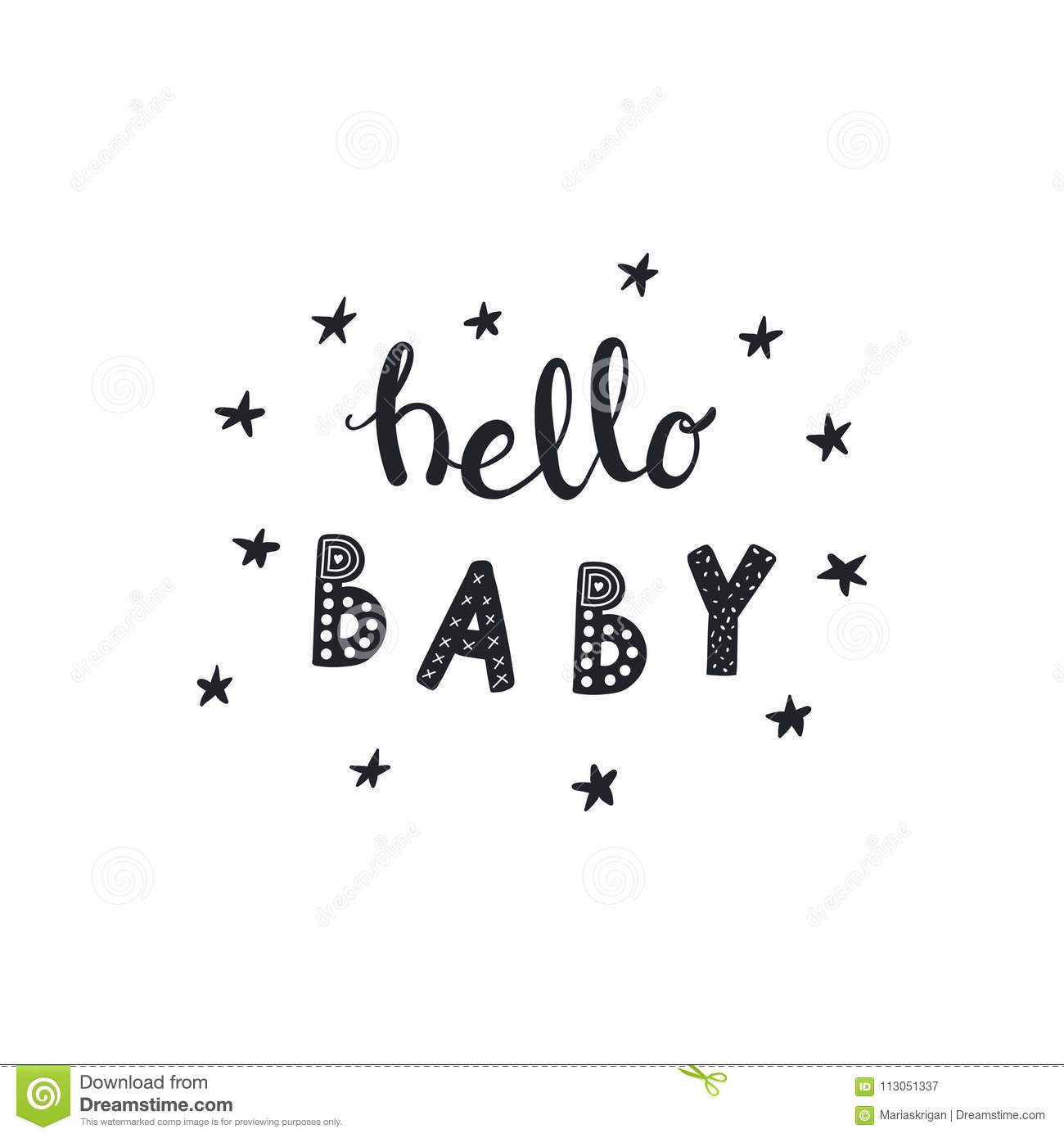 Hello Baby lettering quote stock vector. Illustration of