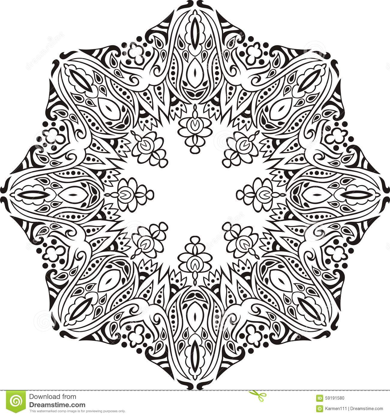 Hand-drawn Mandala Design. Concept Image Circle For Card