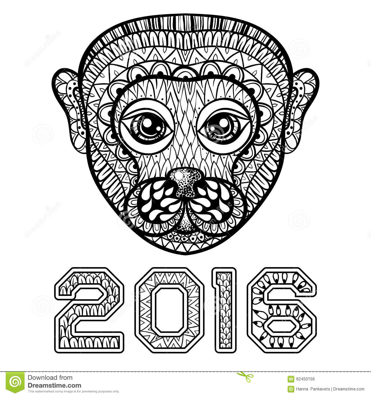 Tiger Chinese Zodiac Sign Zentangle Stylized Vector