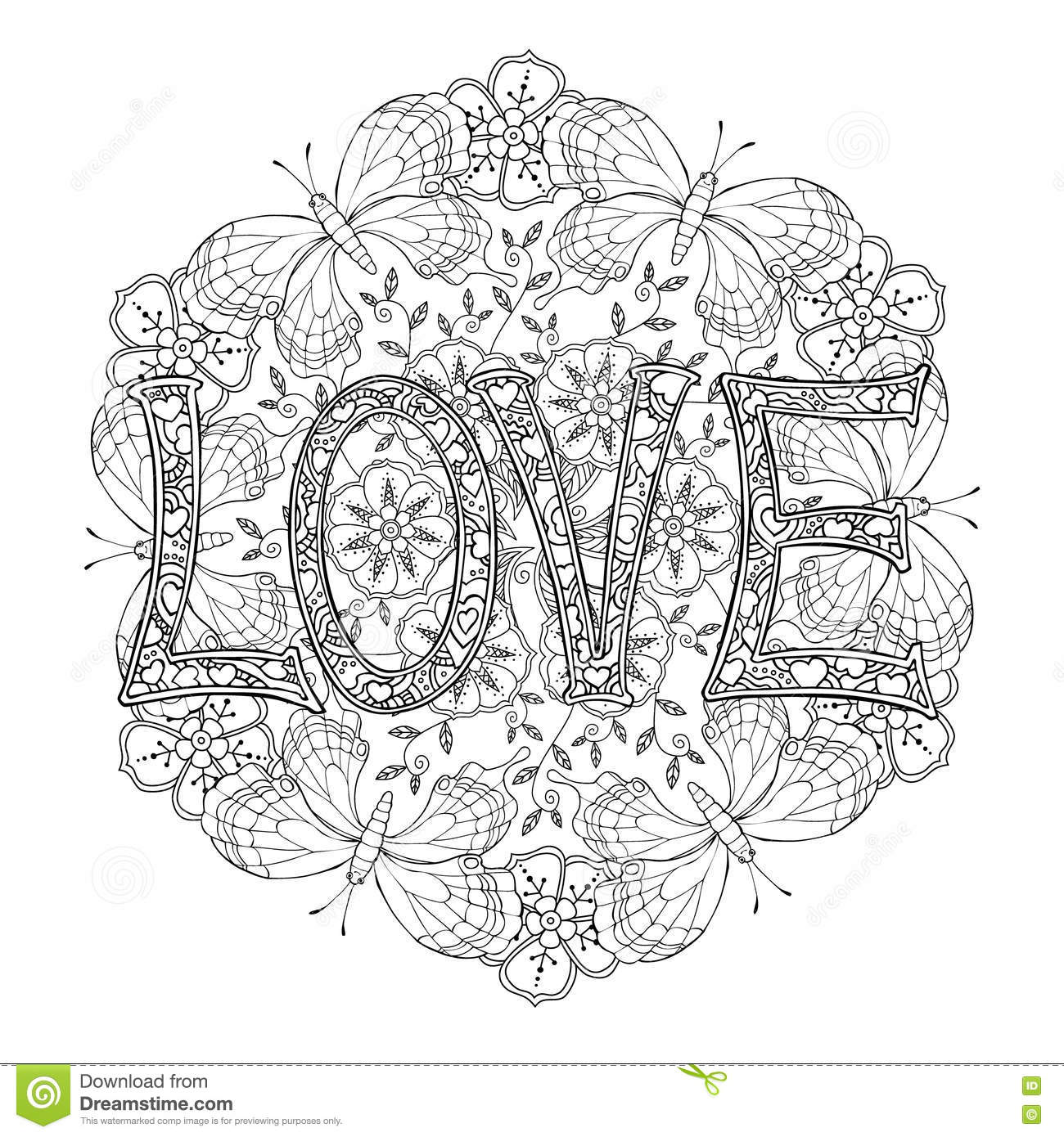 Hand Drawn Monochrome Letters LOVE Text And Mandala With