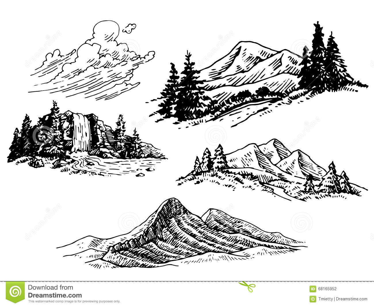 Hand Drawn Mountain Illustrations Stock Vector