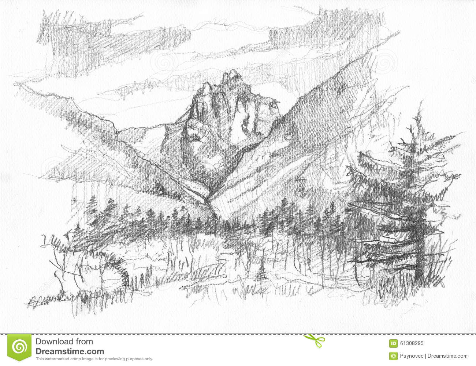 Hand Drawn Mountain Stock Illustration Image 61308295