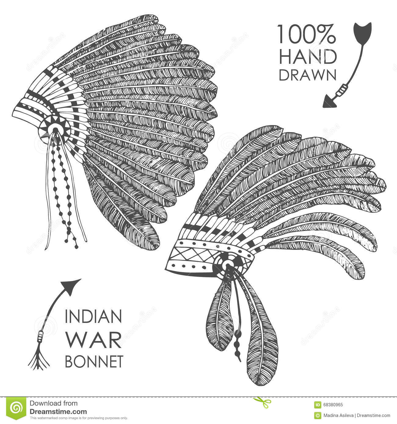 Hand Drawn Native American Indian Chief Headdress With