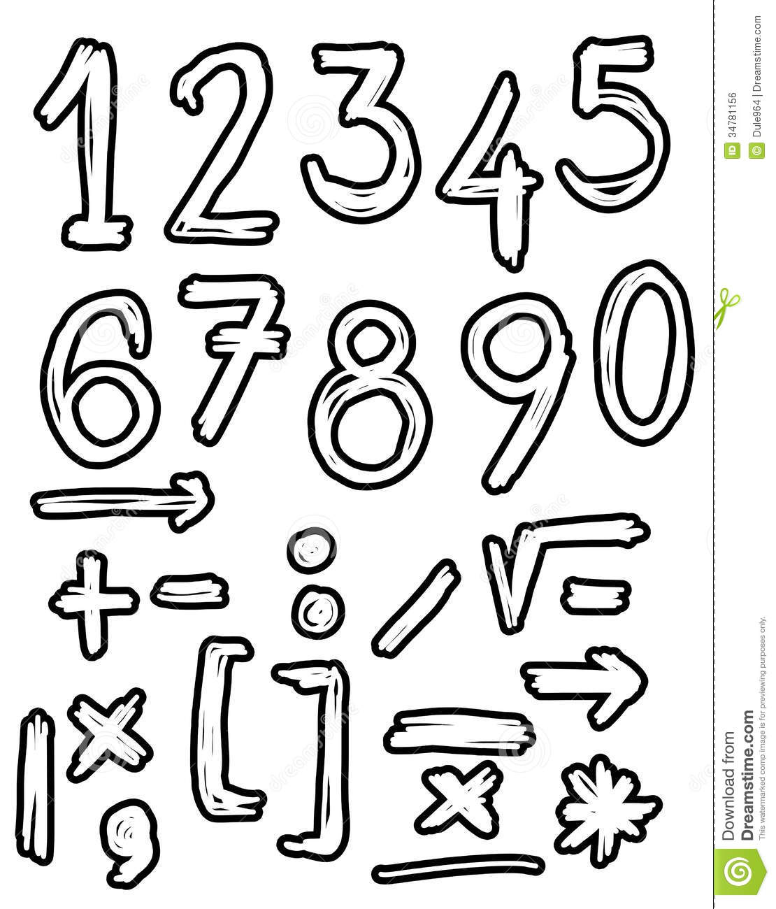 Hand Drawn Numbers Doodles Royalty Free Stock Image