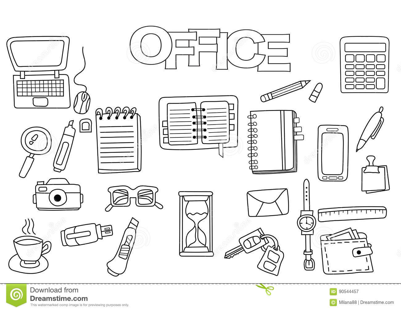 Hand Drawn Office Set. Coloring Book Template. Outline