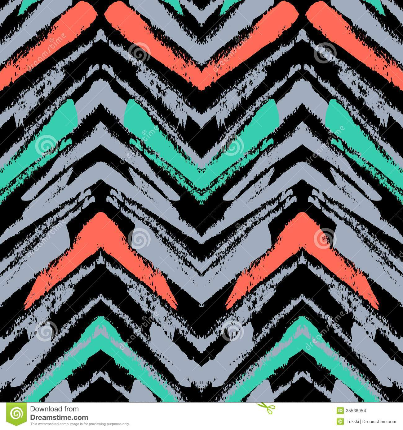 Hand Drawn Pattern With Brushed Zigzag Line Stock Images