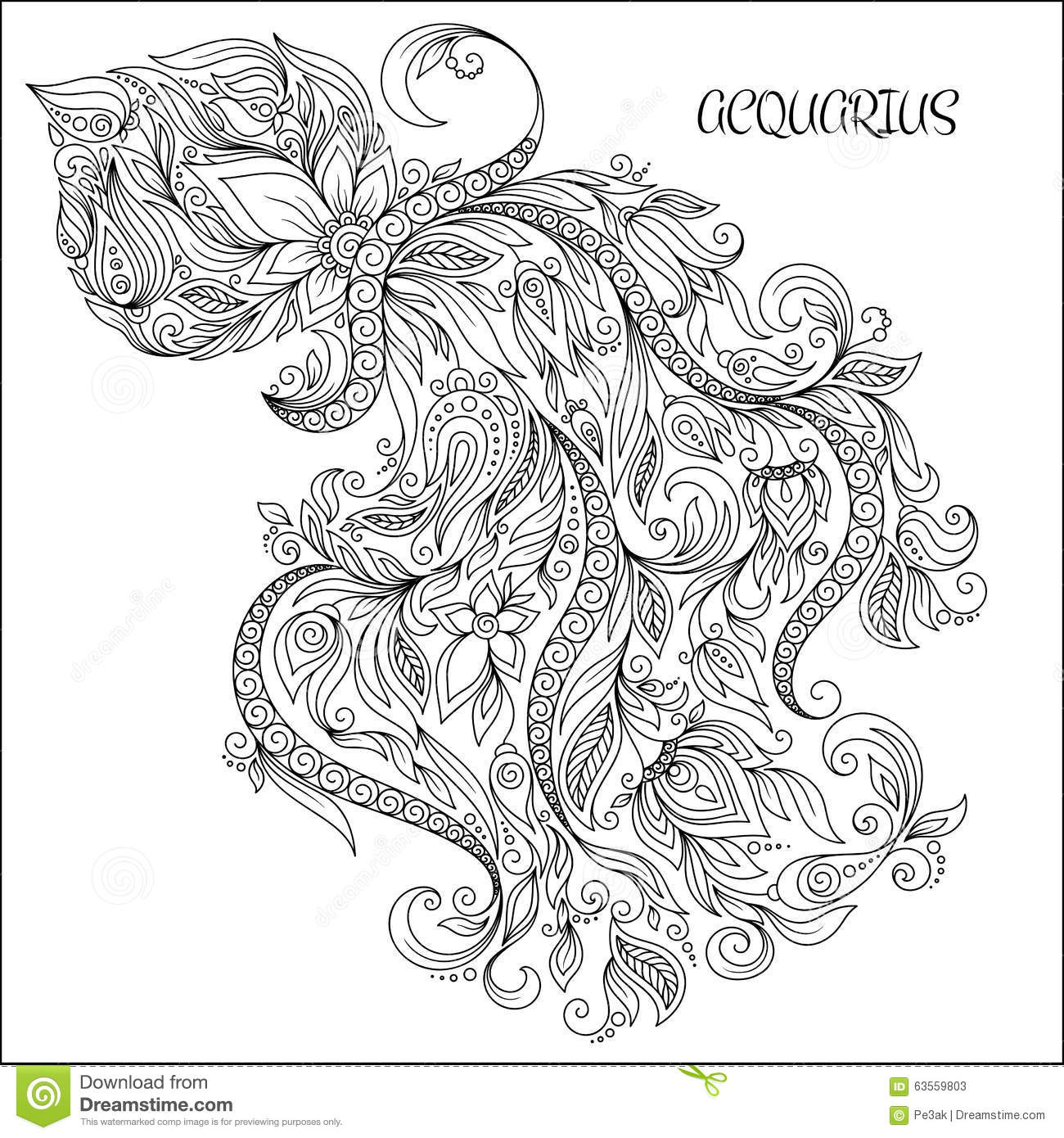 Hand Drawn Pattern For Coloring Book Zodiac Aquarius