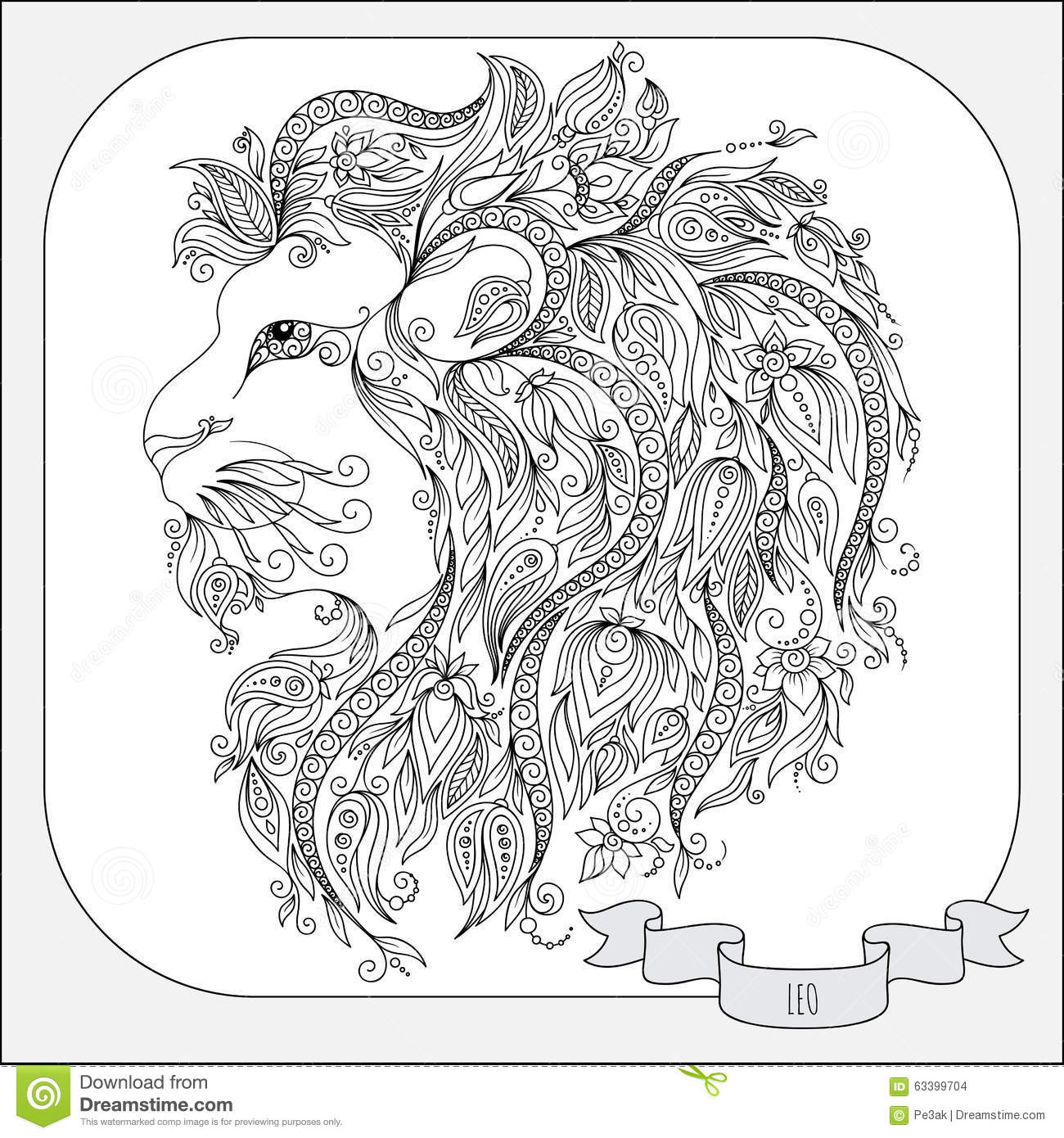 Hand Drawn Pattern For Coloring Book Zodiac Leo Stock