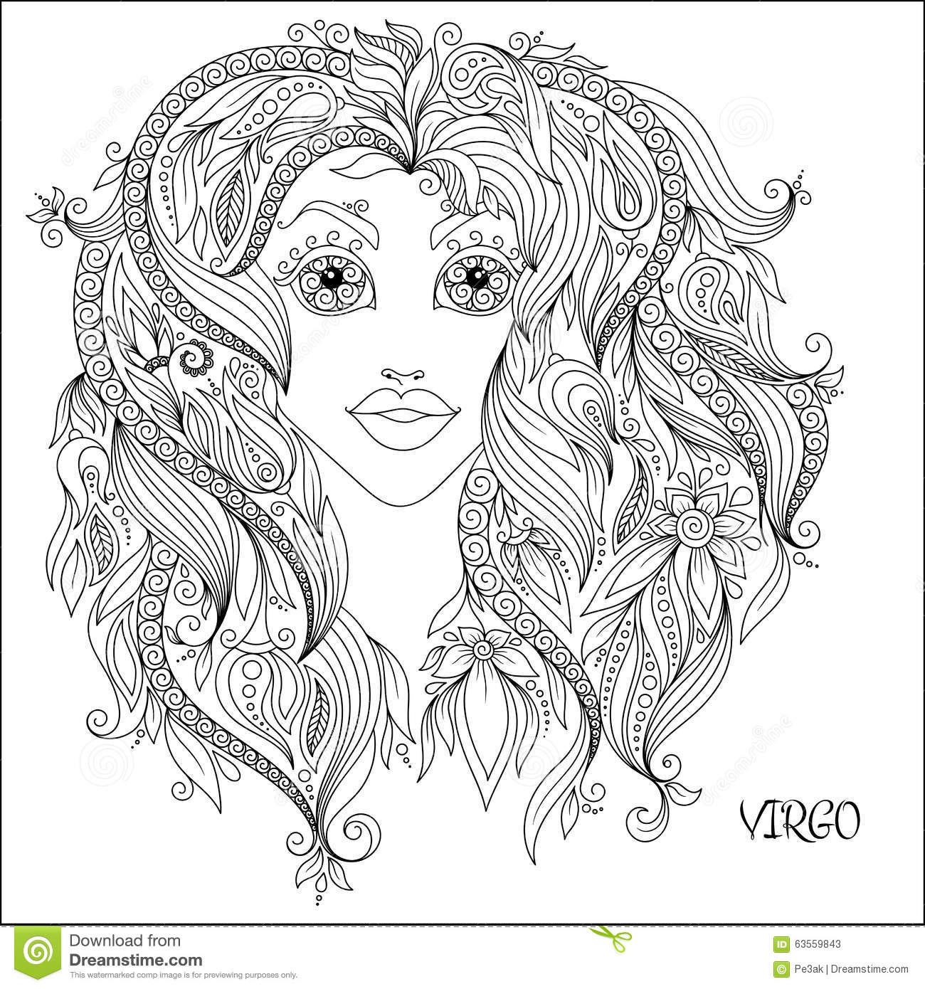 Hand Drawn Pattern For Coloring Book Zodiac Virgo. Stock