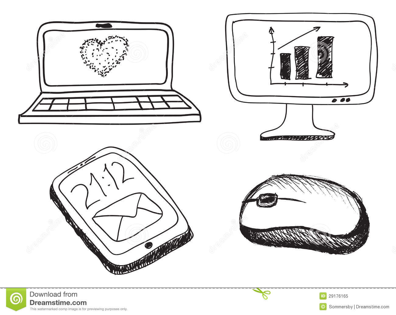 Hand Drawn Phone Monitor Notebook And Mouse Stock