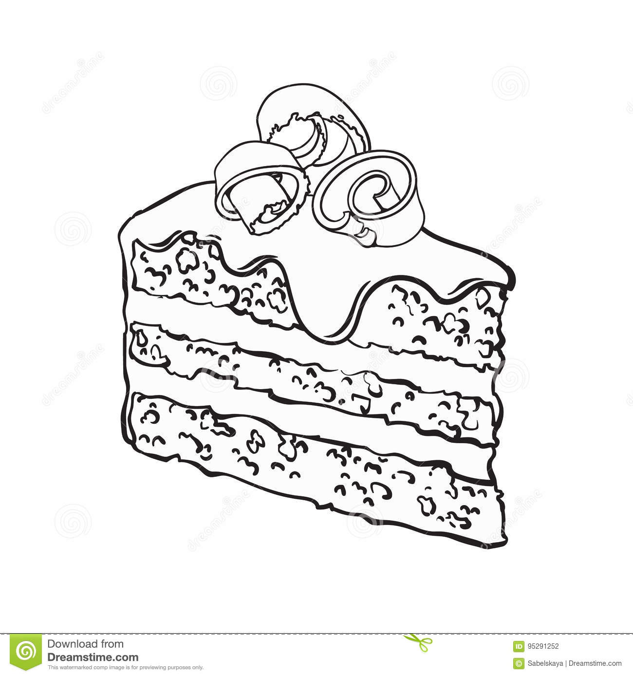 Hand Drawn Piece Of Layered Chocolate Cake With Icing