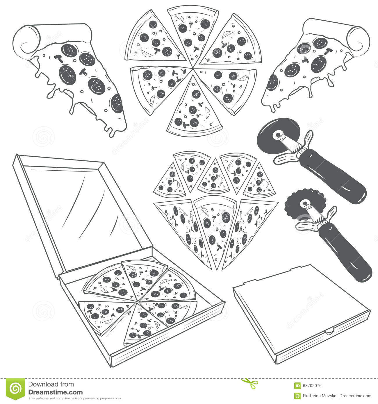 Hand Drawn Pizza Slices Vector Set Pizza Labels Signs