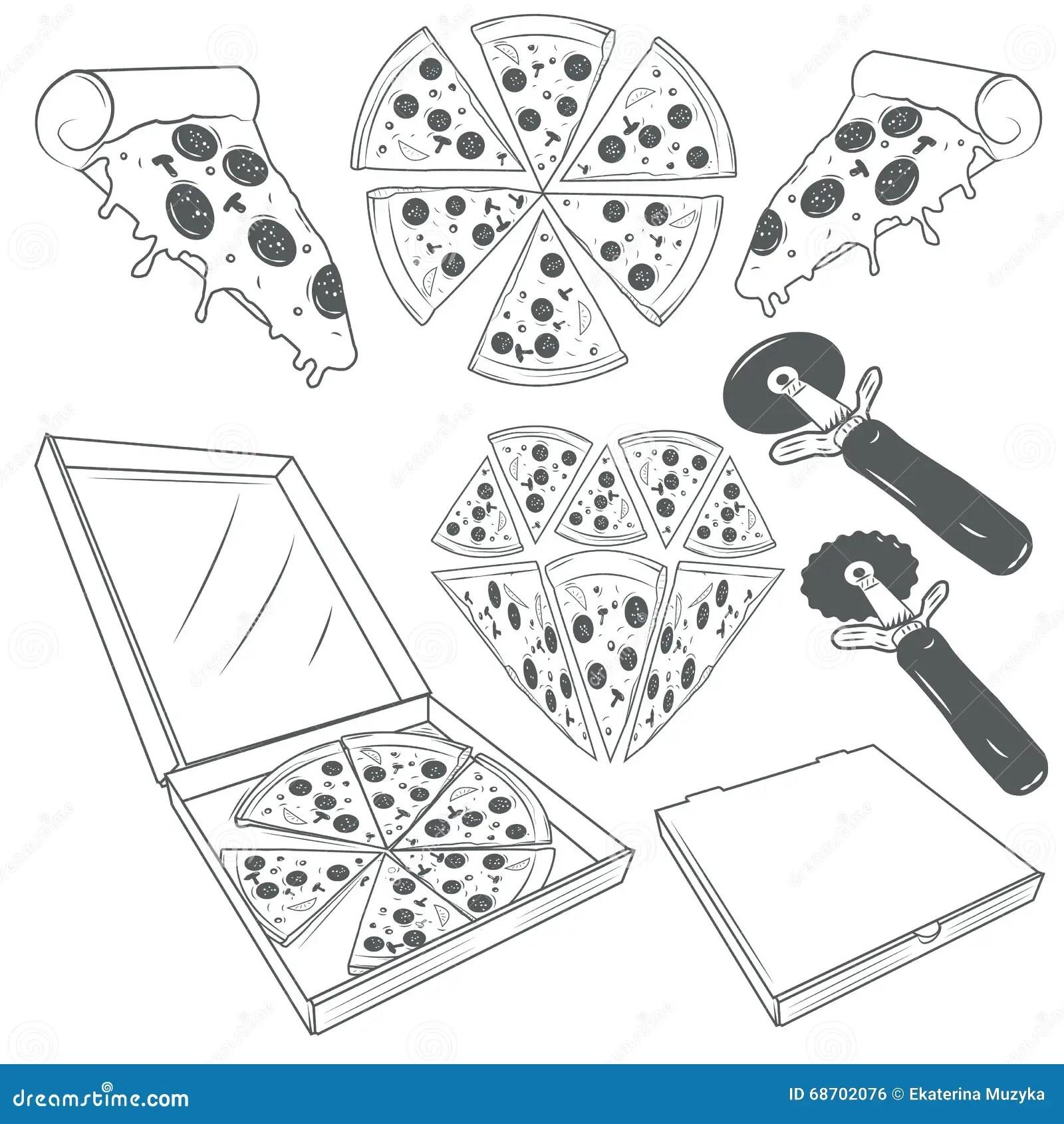 Pizza Vector Hand Drawn Cartoon Vector