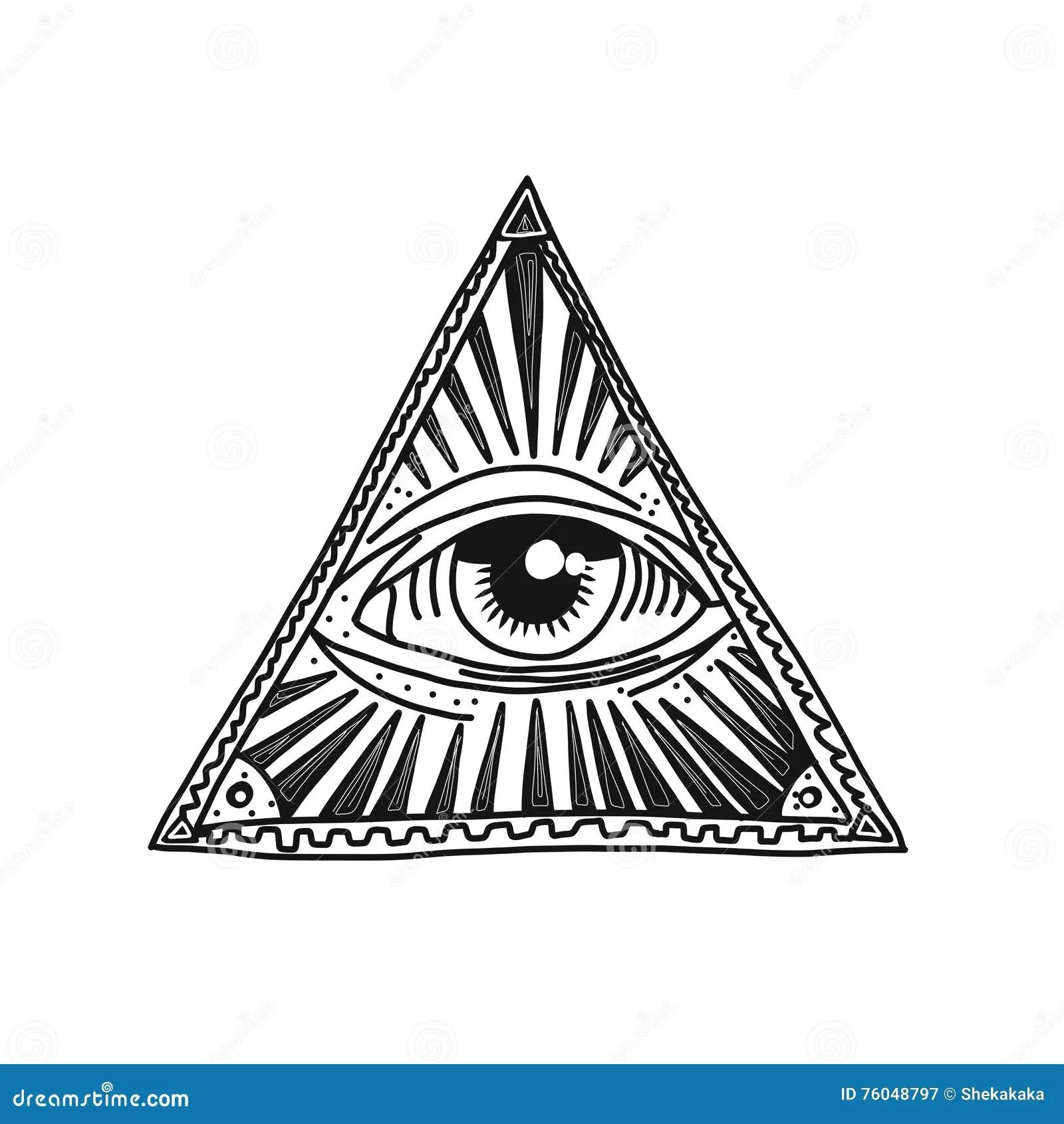 Hand Drawn Pyramid And Eye Royalty Free Illustration