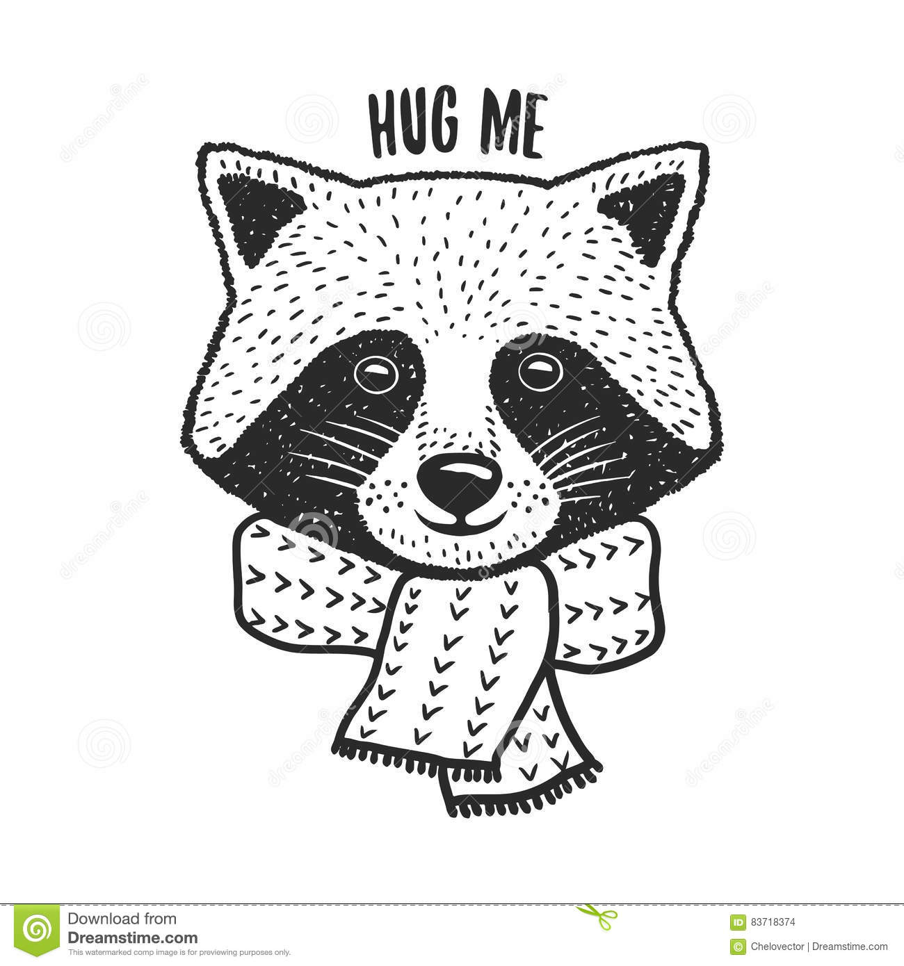 Vector Hug Raccoon Vector Illustration