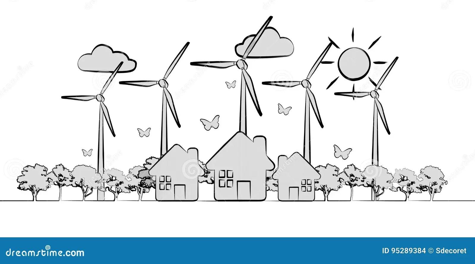 Hand-drawn Renewable Energy Sketch Stock Illustration