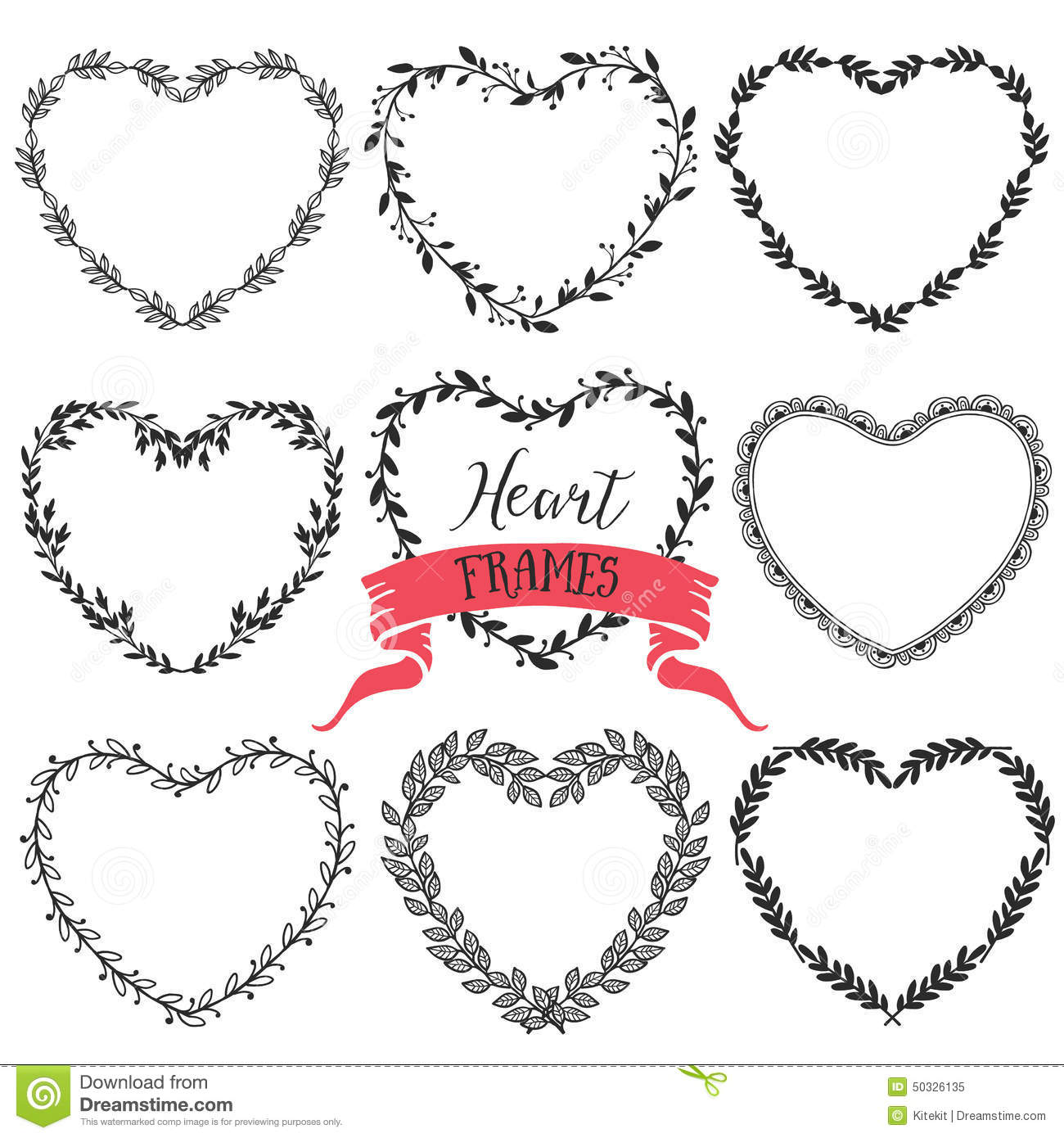 Hand Drawn Rustic Vintage Heart Wreaths Floral Vector