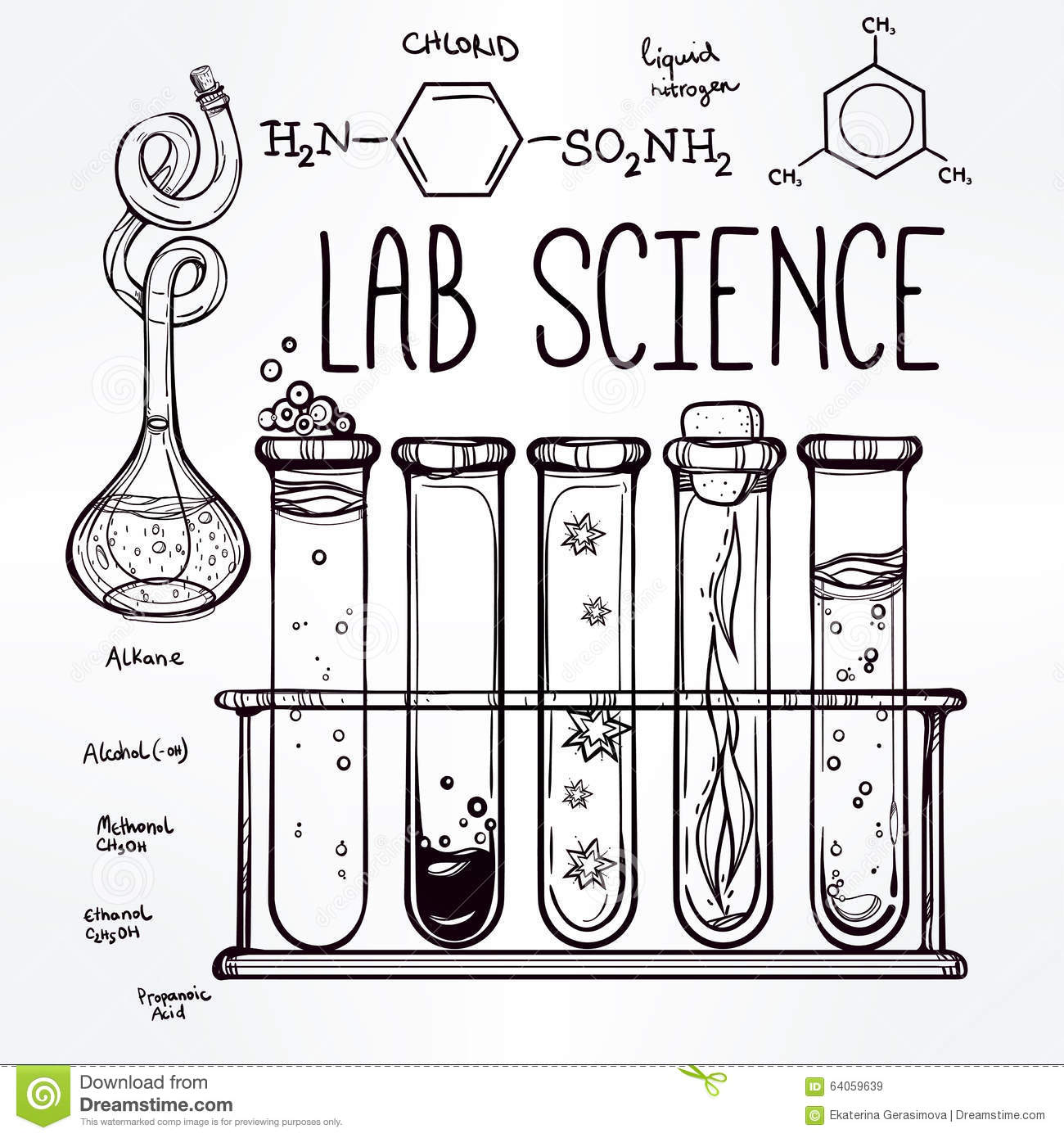 Hand Drawn Science Lab Icons Sketch Set . Stock Vector