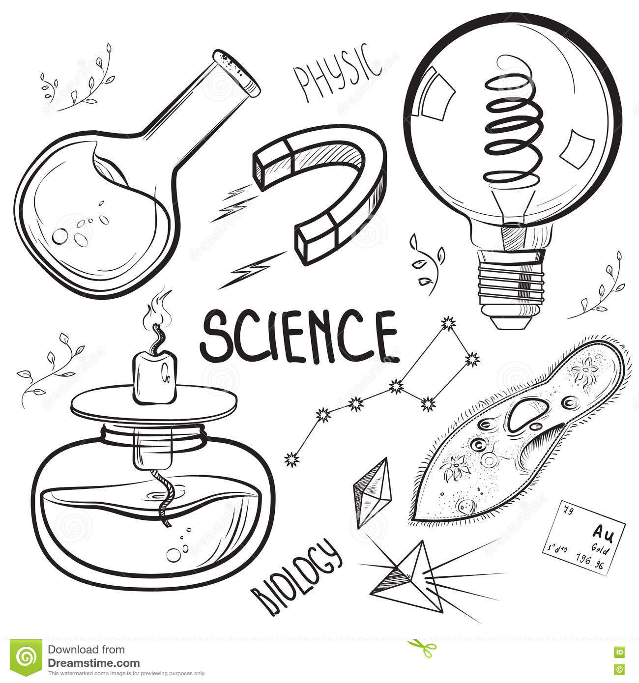Hand drawn science set stock vector. Illustration of