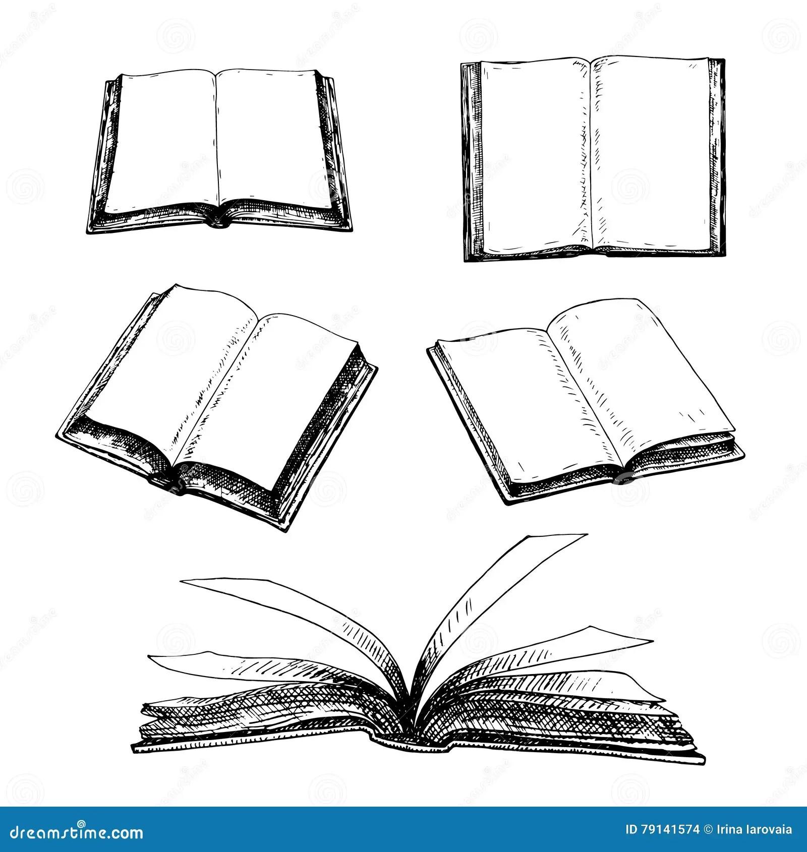 Hand Drawn Set Of Books Stock Vector Illustration Of
