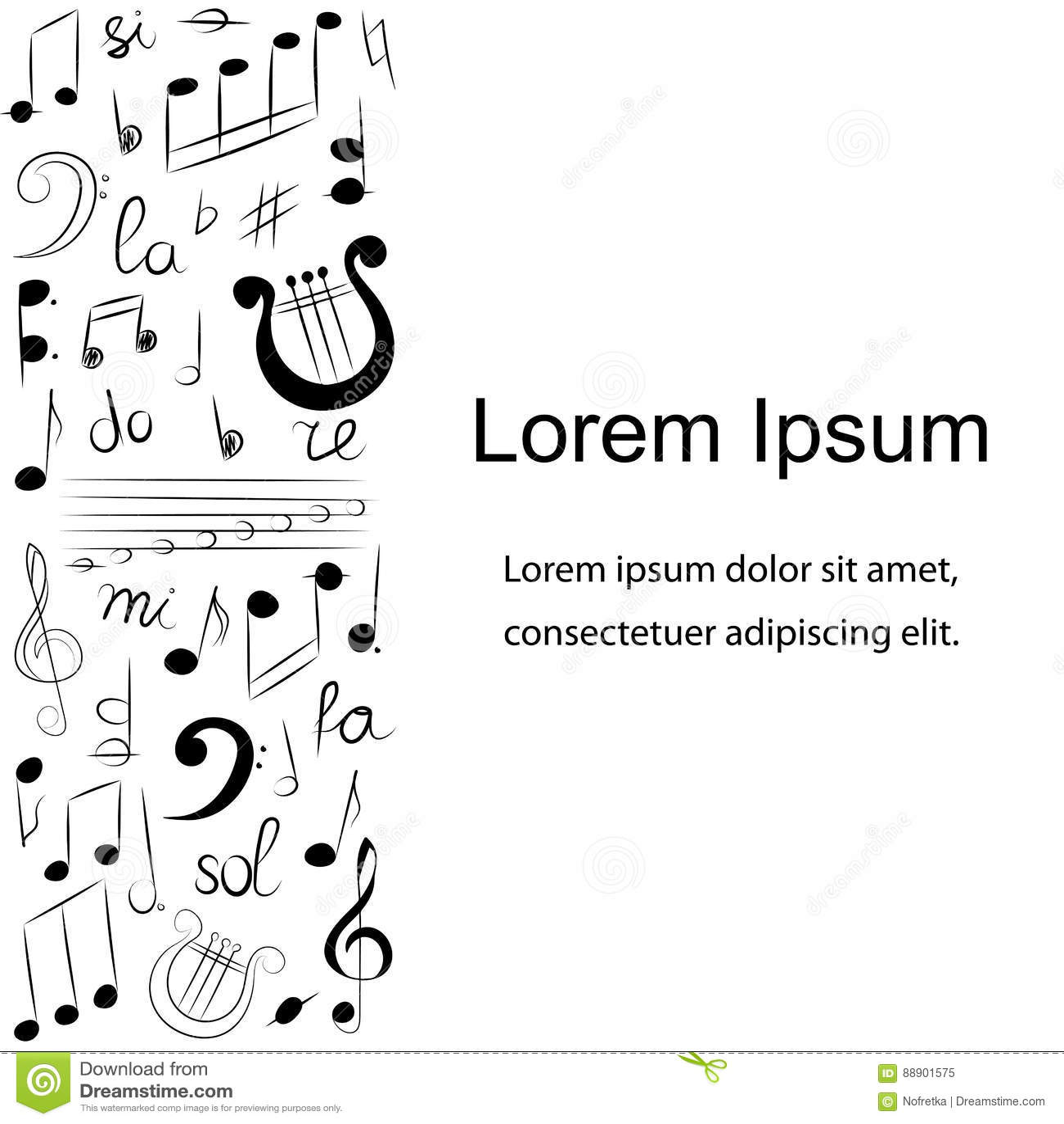 Music Notes Symbols Set Vector Illustration