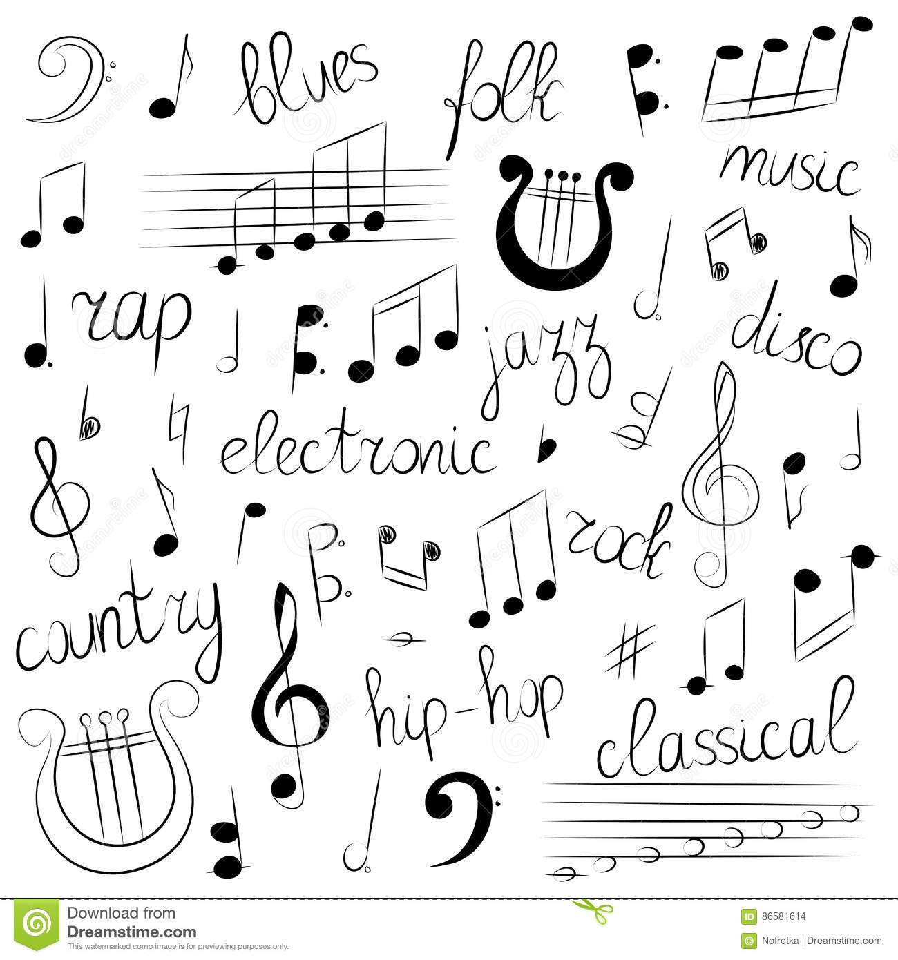 Hand Drawn Set Of Music Symbols And Styles Doodle Treble