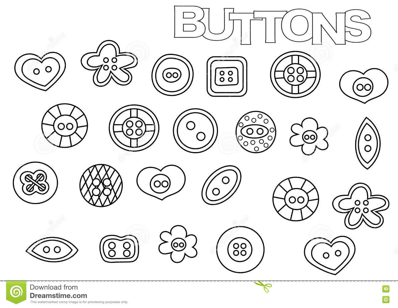 Hand Drawn Sewing Buttons Set. Coloring Book Page Template