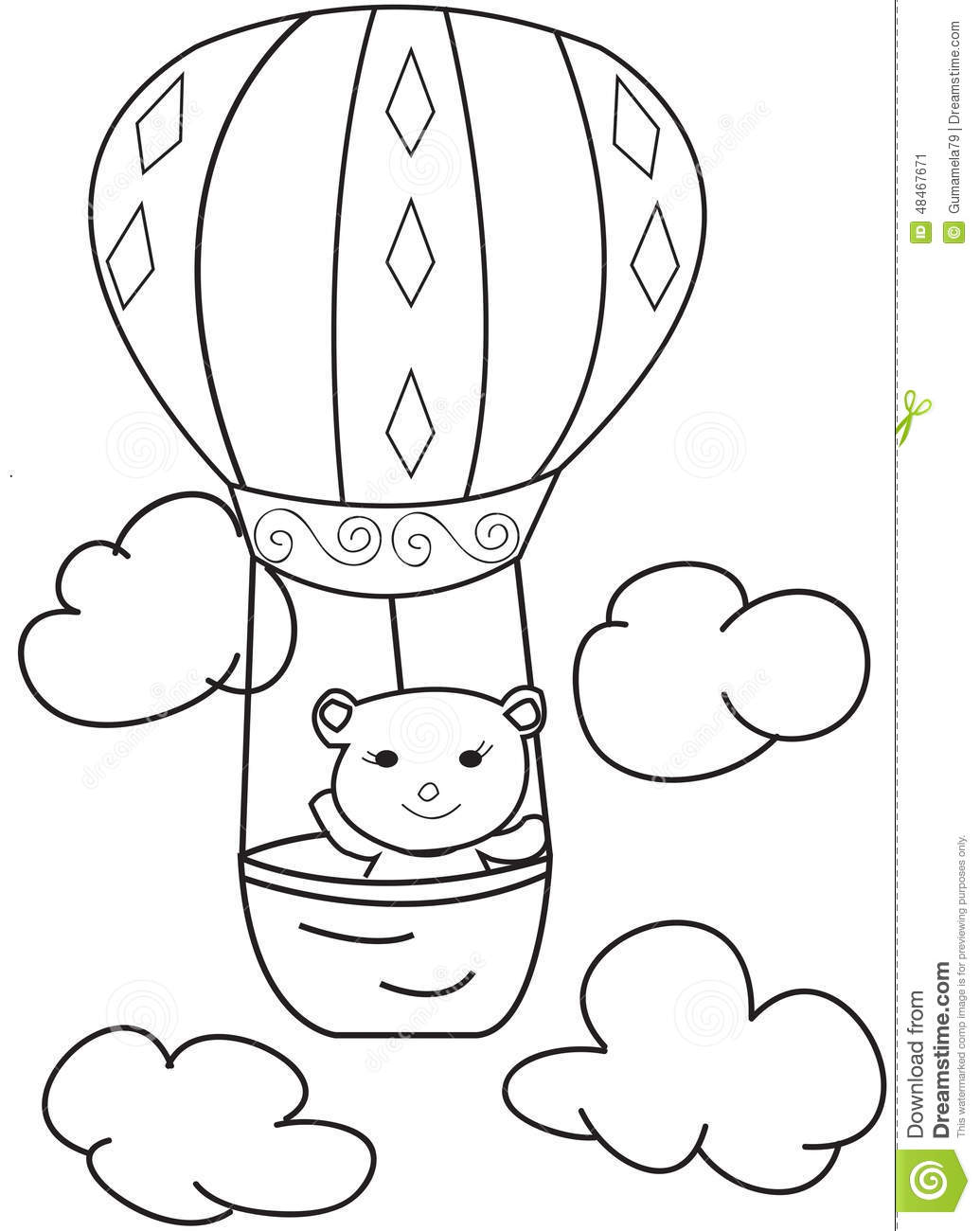 Hand Drawn Sketch Of A Bear In A Hot Air Balloon Stock