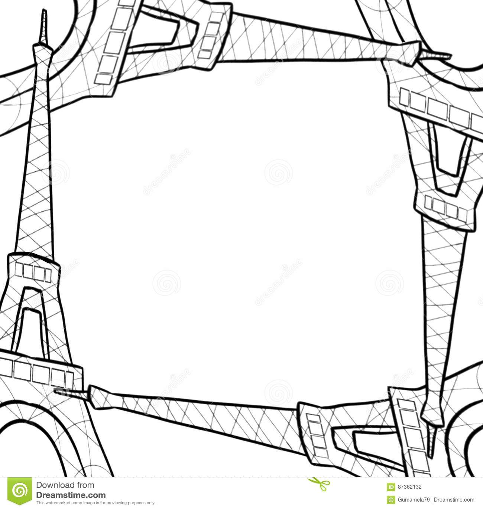Hand Drawn Sketch Of Eiffel Tower Border Frame Stock