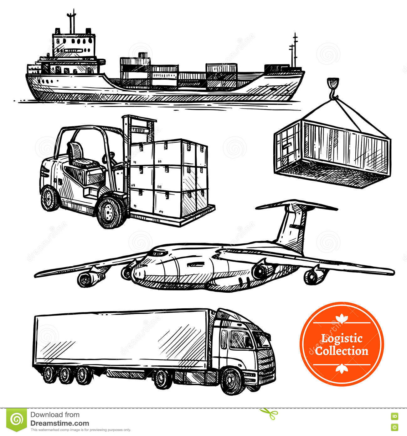 Hand Drawn Sketch Logistics Set Stock Vector